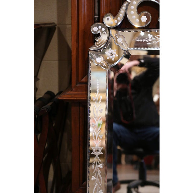 Early 20th Century Early 20th Century Italian Overlay Venetian Mirror With Painted Floral Etching For Sale - Image 5 of 8