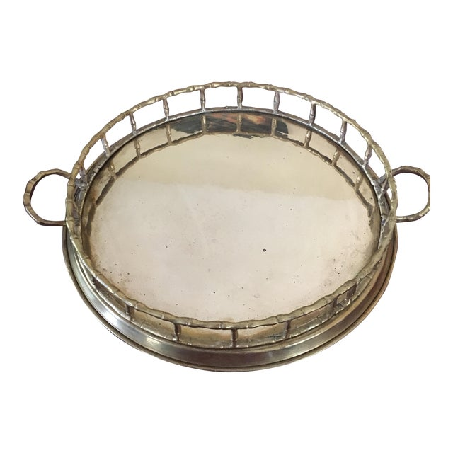Vintage Faux Bamboo Brass Cocktail Tray - Image 1 of 6