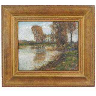 """19th Century Oil on Canvas Titled """"Lakeside Landscape"""" by Edmond Louyot, France For Sale"""