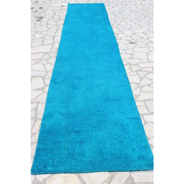 Oushak Over-Dyed Turquoise Runner - 2′10 X 14' - Image 3 of 8