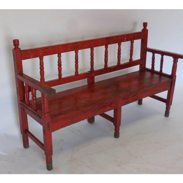 Amazing World Class Small Vintage Painted Carved Bench Decaso Andrewgaddart Wooden Chair Designs For Living Room Andrewgaddartcom