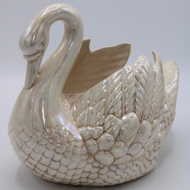 Cream Lusterware Swan Cachepot Planter For Sale - Image 12 of 13