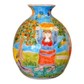 Italian Giovanni Desimone Hand Painted Art Pottery Orange Picking Vase, Italy For Sale