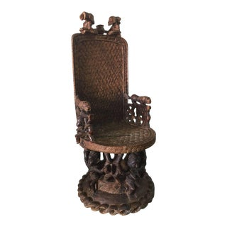 Large Carved Wood African Throne Chair For Sale