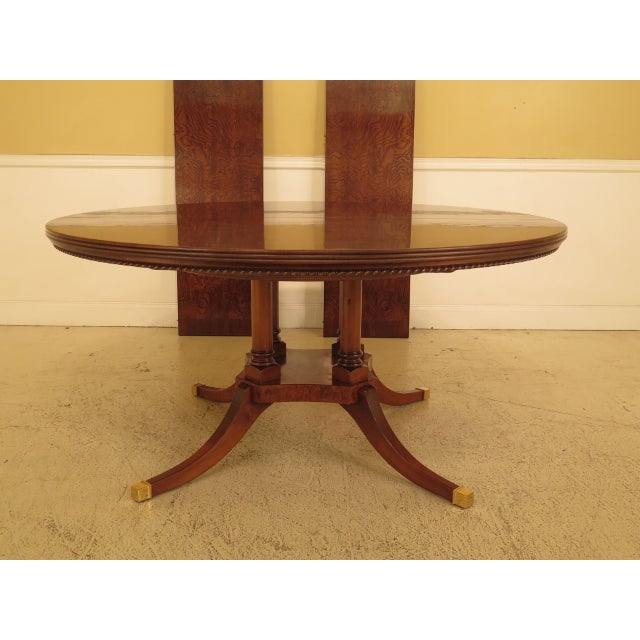 Burl Walnut Round Dining Room Extension Table For Sale - Image 13 of 13