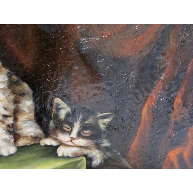 Late 19th Century Antique Henriette Ronner Style Signed Kitten Oil Painting For Sale In San Diego - Image 6 of 11