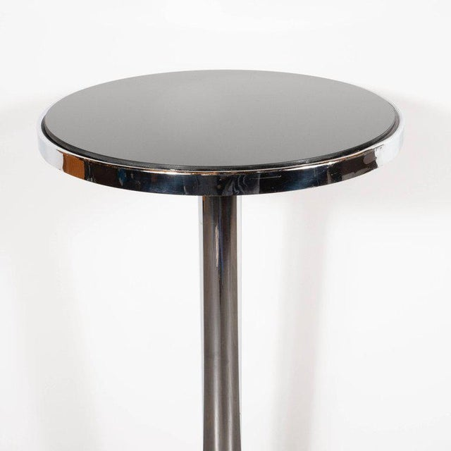 Art Deco Machine Age Chrome, Marble and Vitrolite Drinks Table For Sale In New York - Image 6 of 10