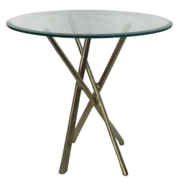 Round Glass Top & Gold Stained Aluminum Side Table - Image 1 of 4