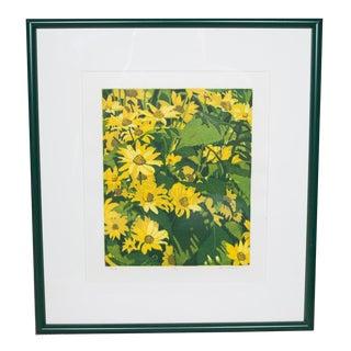 1980s Vintage Yellow Daisy Floral Lithograph by Hans Van Liempt For Sale
