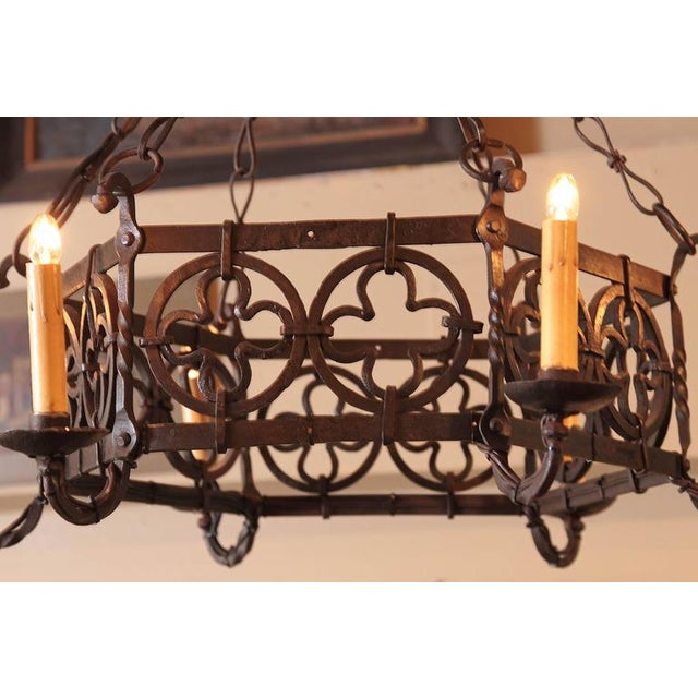 Gold 19th Century French Gothic Hexagonal Black Wrought Iron Six-Light Chandelier For Sale - Image 8 of 10