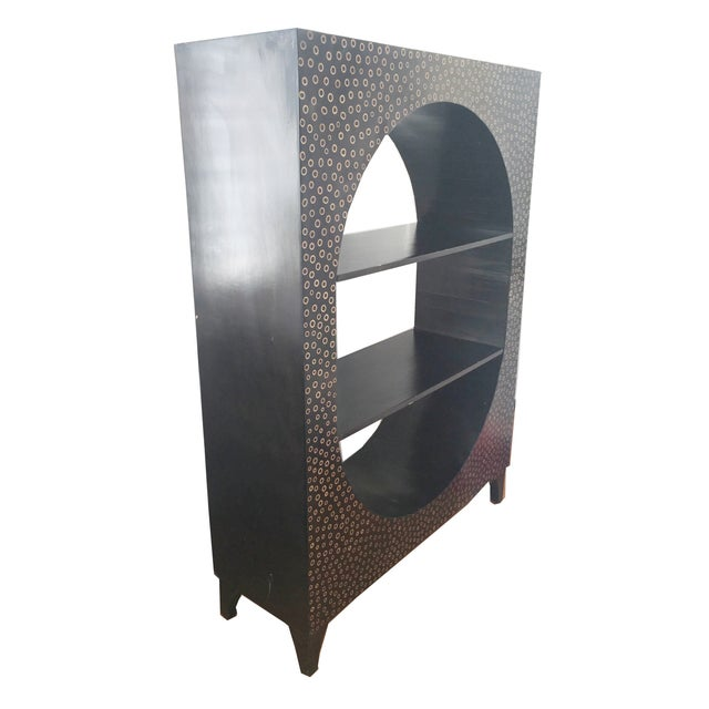Modern Ebony Wood & Bamboo Curio Bookshelf - Image 1 of 3