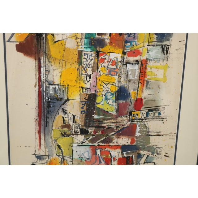Vintage 1955 Charles LeClair Abstract Framed Watercolor Painting For Sale - Image 4 of 8