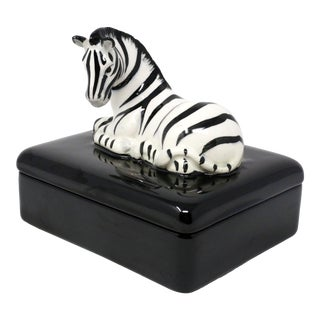 Vintage Fitz and Floyd Playing Card Zebra Box Ceramic For Sale