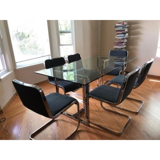 Modern Glass & Chrome Dining Table For Sale - Image 4 of 5