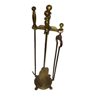 Vintage Bronze Finish Fireplace Tools Set For Sale