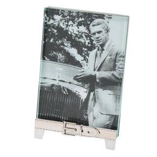 Italian Gucci Rare Silver Plate Picture Photo Frame Belt Design For Sale