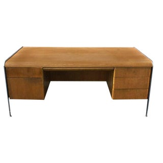 Vintage Mid-Century Modern Desk With Chrome Trim and Legs For Sale