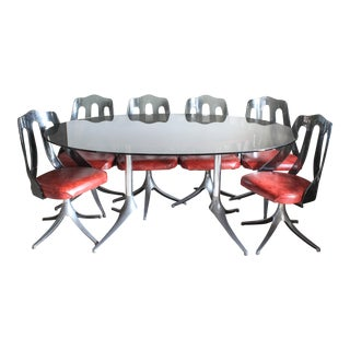 1970s Vintage Smoked Lucite Six Chair Dining Set by Howell of Interlake-Set of 7 For Sale