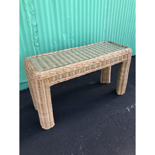 VintageBraid Wicker Console Table For Sale - Image 10 of 11