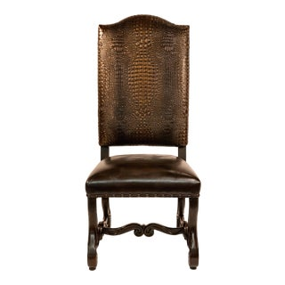 Solid Wood Ranch Crocodile Dining Chair For Sale