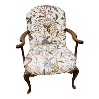Antique Bergere Queen Anne Style Arm Chair With Crewel Embroidery Upholstery For Sale