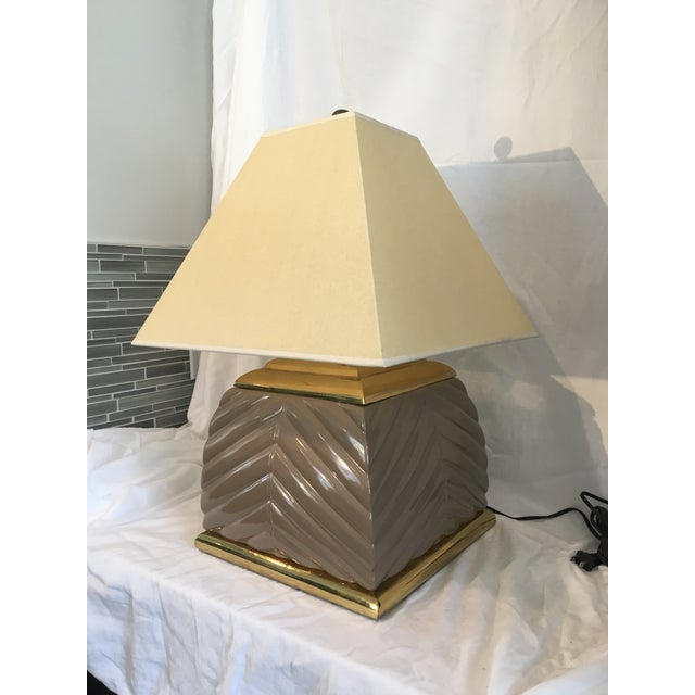 Art Deco 1970s Modern Chevron Taupe Ceramic & Brass Table Lamp For Sale - Image 3 of 10
