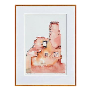 """Late 20th Century """"Antelope House"""" Landscape Watercolor Painting by Kay Carlson, Framed For Sale"""