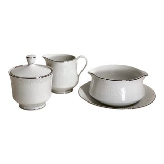 Cream and Sugar Gravy Boat Lovelace Crown Victoria Serving Pieces For Sale