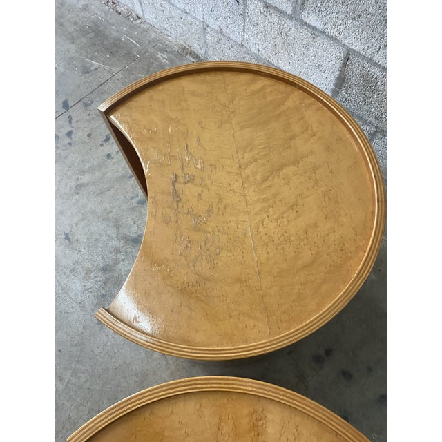 Exceptional pair of vintage Baker nightstands. Curved wood with notched detail. Designed by the legendary Michael Taylor....