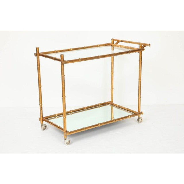 Gold Italian Gilt Iron Stylized Bamboo Serving / Bar Cart For Sale - Image 8 of 11