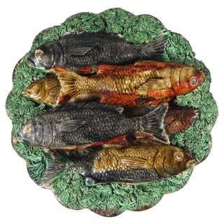 19th Century Rustic Majolica Portuguese Palissy Fishes Wall Platter