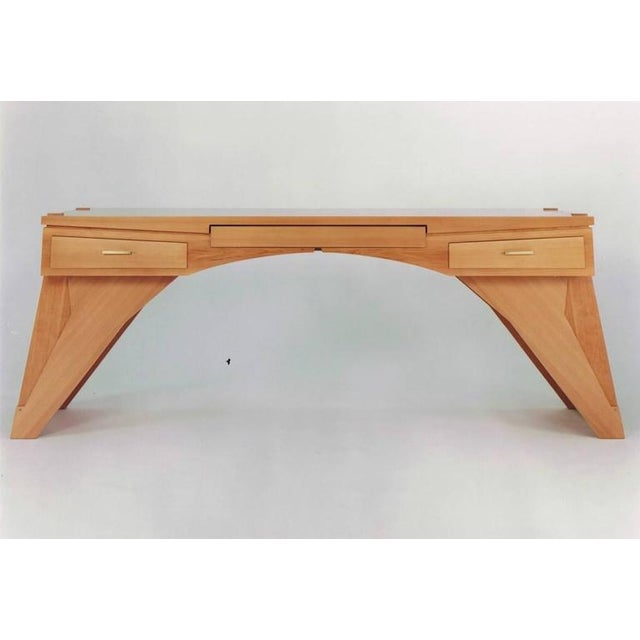 """""""Arch Bridge"""", Late 20th Century Constructivist Desk in Pear wood, Ed Weinberger For Sale - Image 9 of 10"""