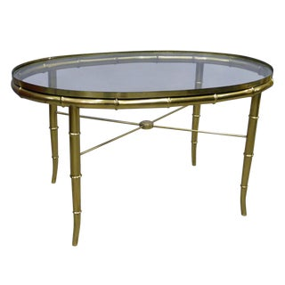 Mid-Century Modern Faux Bamboo Oval Coffee Table For Sale