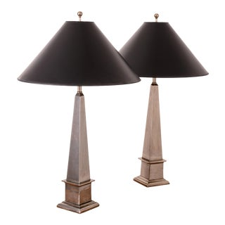 Maitland-Smith Silver Obelisk Lamps For Sale