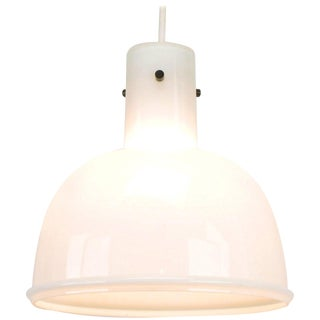 Lightolier White Cased Glass Bell Form Pendant Light by Glashütte Limburg For Sale