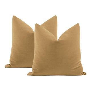 "22"" Camel Italian Velvet Pillows - a Pair For Sale"