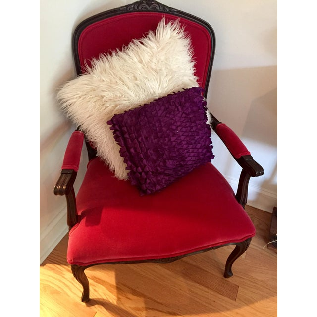 19th Century Louis XVI Red Velvet Arm Chair For Sale In Washington DC - Image 6 of 11