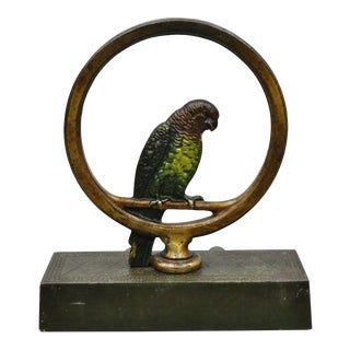Antique Parrot on Swing Art Deco Bradley & Hubbard Cast Iron Doorstop For Sale