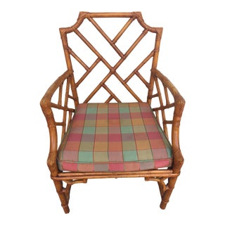 1970s Chinese Chippendale Plaid Upholstered Rattan Chair For Sale