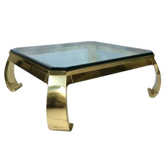 1970s Karl Springer Asian Inspired Brass & Glass Coffee Table For Sale