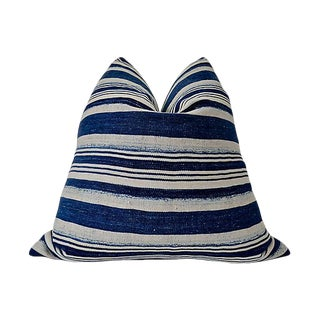 Boho Chic Fragments Identity Vintage Indigo Blues Pillow - 24ʺW × 24ʺH For Sale