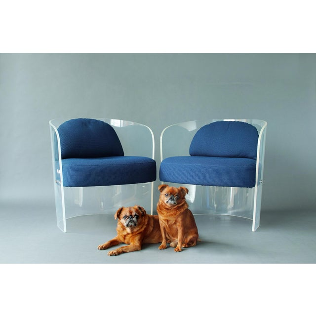 Space Age Lucite Barrel Lounge Chairs - a Pair For Sale - Image 12 of 13