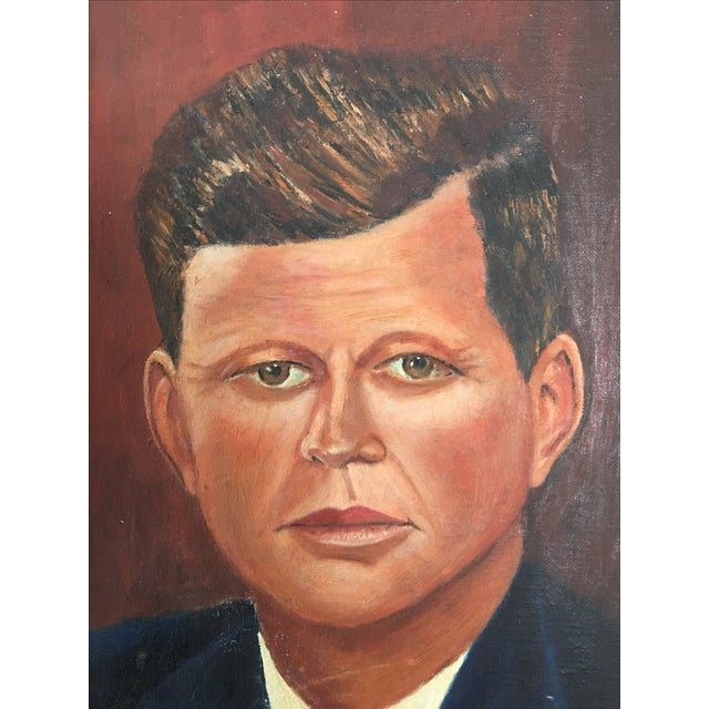 Mid-Century Modern Mid-Century John F. Kennedy Portrait Painting For Sale - Image 3 of 5