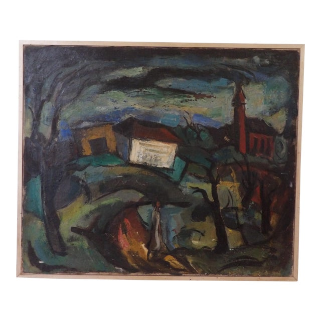 Mid-Century Abstract Expressionist Landscape Original Oil on Canvas Painting For Sale