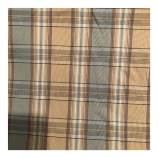 Taupe & Slate Blue Plaid Silk Fabric - 2 Yards Available For Sale