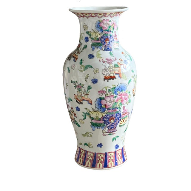 Chinese 19th Century Chinese Famille Rose Vase With Pink Flowers For Sale - Image 3 of 10