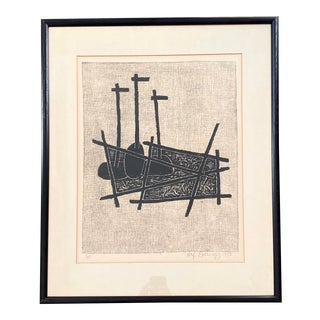Alfonsas Dargis Framed Woodcut on Paper Signed and Numbered For Sale