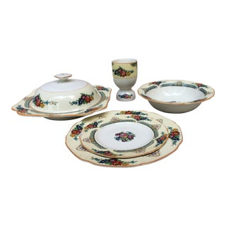 AntiqueEnglish Bone China Breakfast Set - 5 Piece Set For Sale