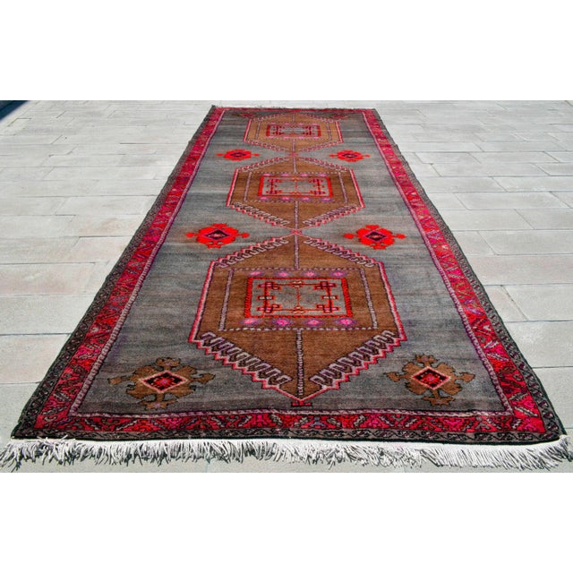Hand Knotted Turkish Rug Large Runner