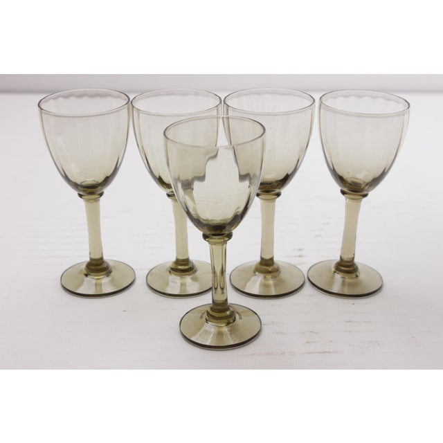French Mid-Century Port Wine Glasses - Set of 5 For Sale - Image 3 of 4
